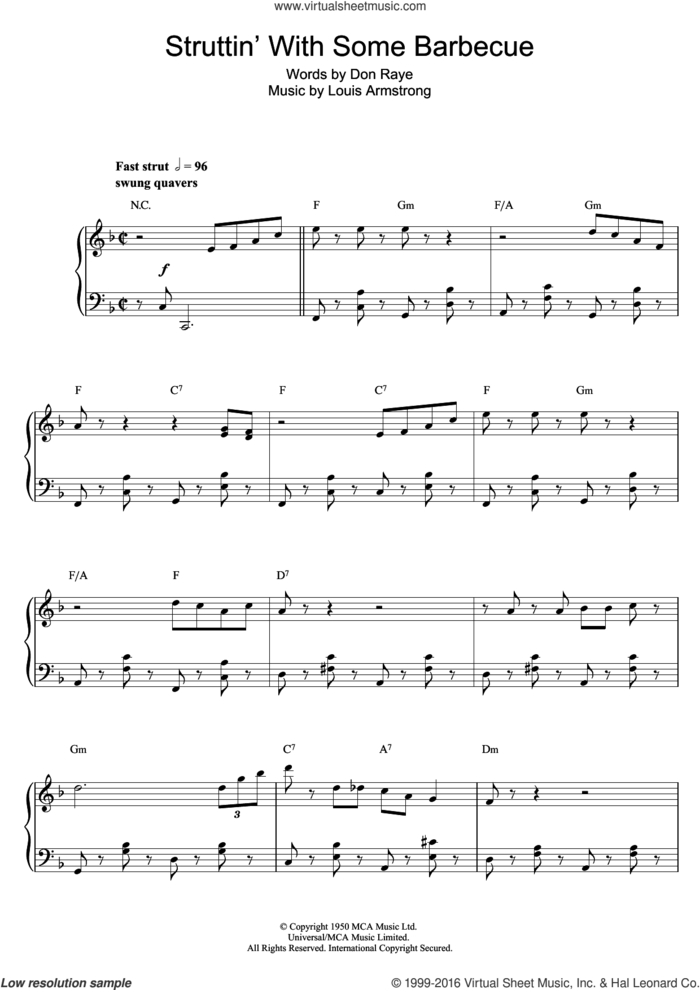 Struttin' With Some Barbecue sheet music for piano solo by Louis Armstrong and Don Raye, intermediate skill level