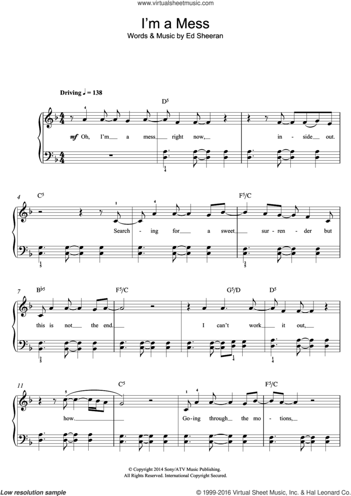 I'm A Mess sheet music for piano solo by Ed Sheeran, easy skill level