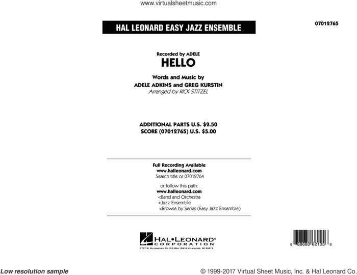 Hello (COMPLETE) sheet music for jazz band by Adele, Adele Adkins, Greg Kurstin and Rick Stitzel, intermediate skill level