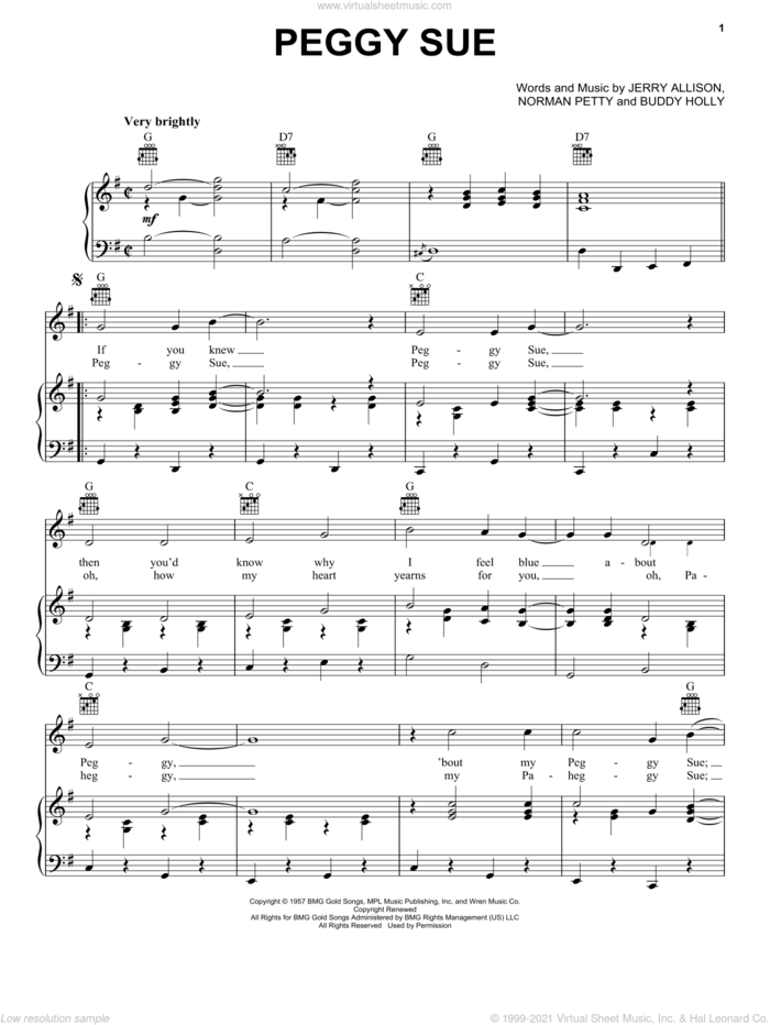 Peggy Sue sheet music for voice, piano or guitar by Buddy Holly, Jerry Allison and Norman Petty, intermediate skill level