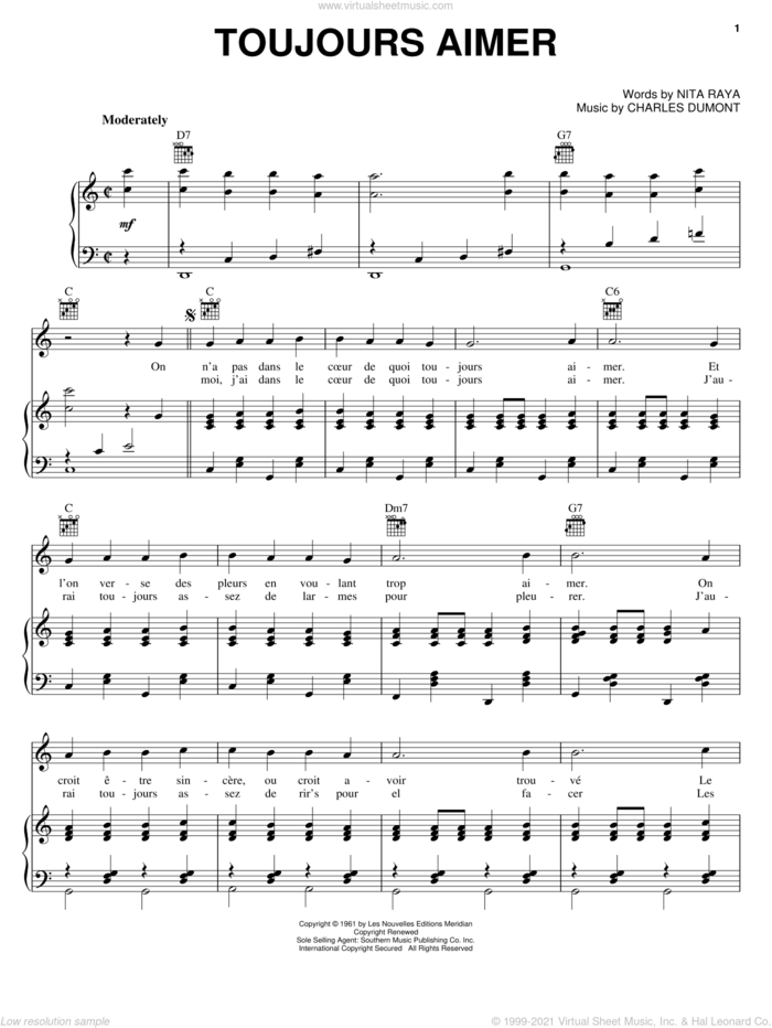 Toujours Aimer sheet music for voice, piano or guitar by Edith Piaf, Charles Dumont and Nita Raya, intermediate skill level