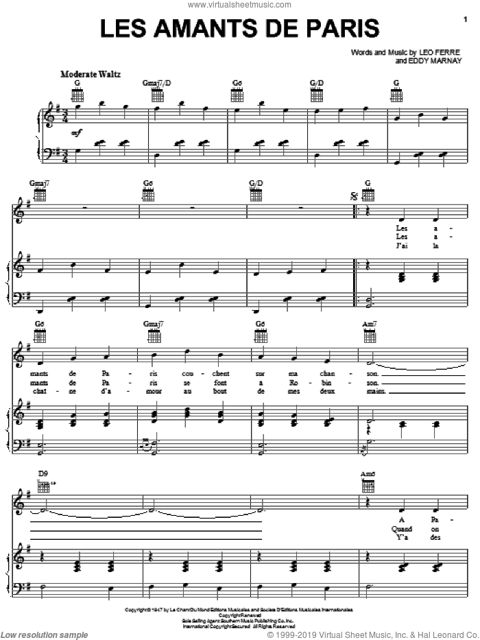 Les Amants De Paris sheet music for voice, piano or guitar by Edith Piaf, Eddy Marnay and Leo Ferre, intermediate skill level