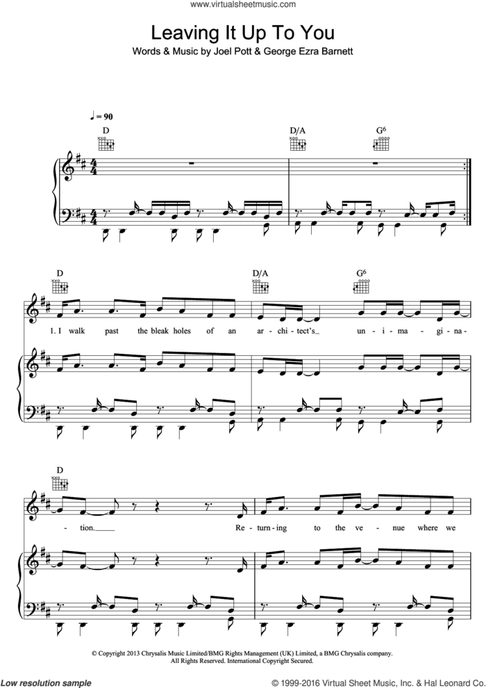 Leaving It Up To You sheet music for voice, piano or guitar by George Ezra, George Ezra Barnett and Joel Pott, intermediate skill level
