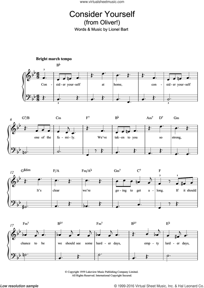 Consider Yourself (from Oliver!) sheet music for piano solo by Lionel Bart, easy skill level