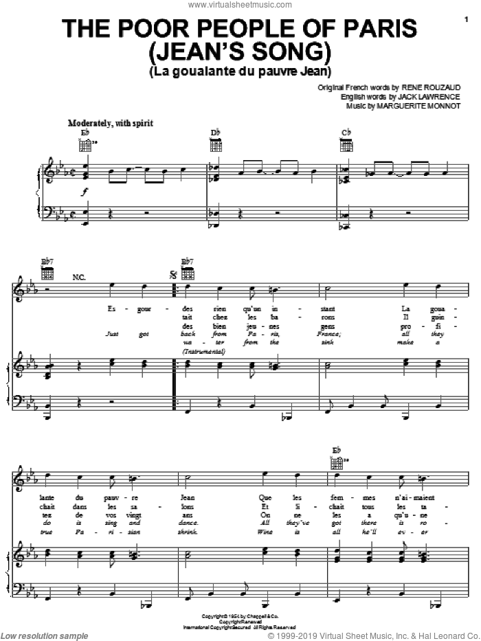 The Poor People Of Paris (Jean's Song) sheet music for voice, piano or guitar by Jack Lawrence, Marguerite Monnot and Rene Rouzaud, intermediate skill level