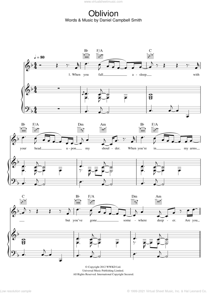 Oblivion sheet music for voice, piano or guitar by Bastille and Daniel Campbell Smith, intermediate skill level