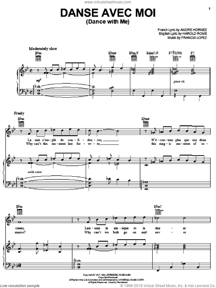 Danse Avec Moi sheet music for voice, piano or guitar by Gianni Basso, Andre Hornez, Francis Lopez and Harold Rome, intermediate skill level