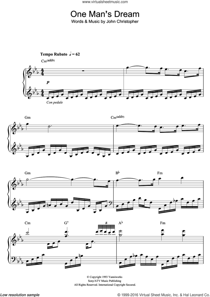 One Man's Dream sheet music for voice, piano or guitar by Yanni and John Christopher, intermediate skill level