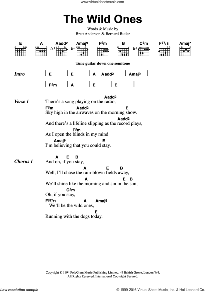The Wild Ones sheet music for guitar (chords) by Suede, Bernard Butler and Brett Anderson, intermediate skill level