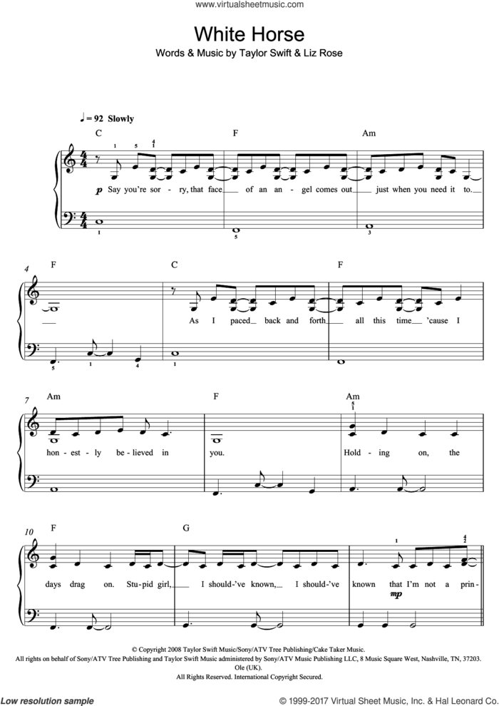 White Horse, (easy) sheet music for piano solo by Taylor Swift and Liz Rose, easy skill level