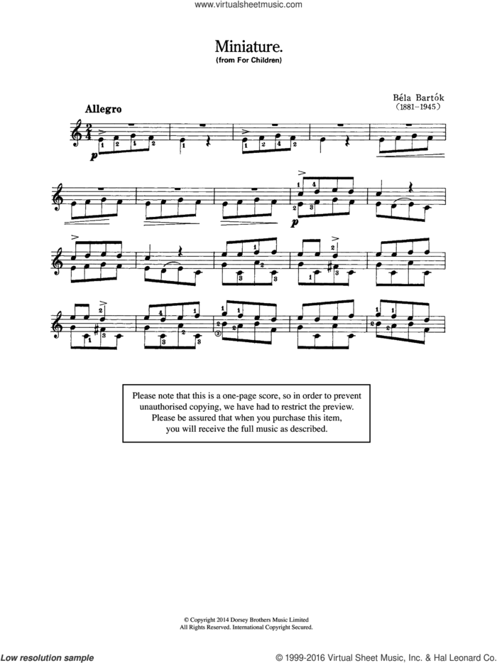 Miniature (From 'For Children') sheet music for guitar solo (chords) by Bela Bartok and Bela Bartok, classical score, easy guitar (chords)