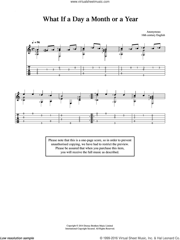 What If A Day A Month Or A Year sheet music for guitar solo (chords) by Anonymous, classical score, easy guitar (chords)