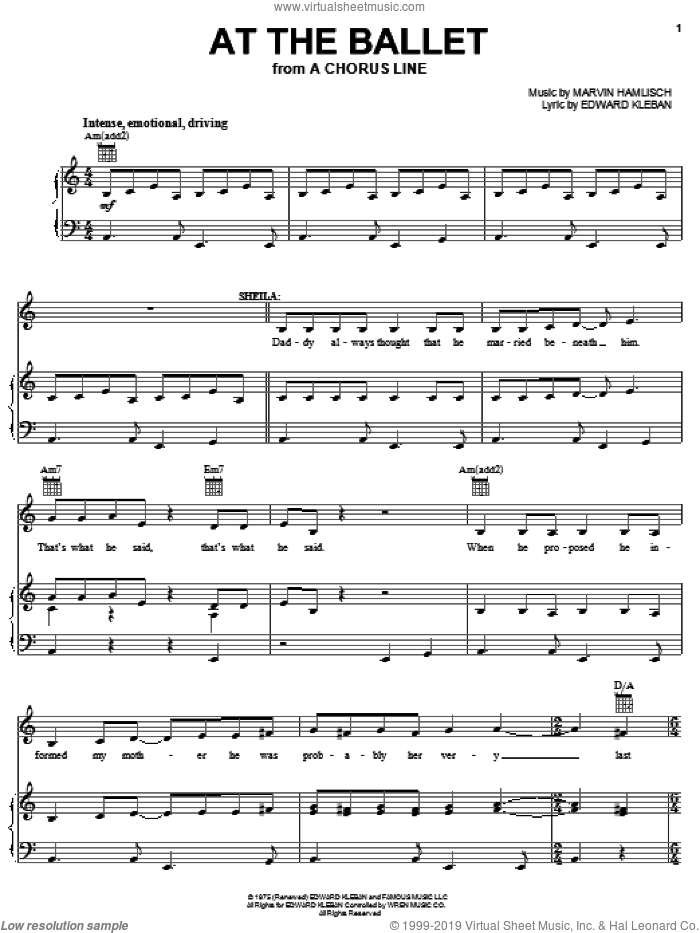 At The Ballet sheet music for voice, piano or guitar by Marvin Hamlisch, A Chorus Line (Musical), Carole Bishop and Edward Kleban, intermediate skill level