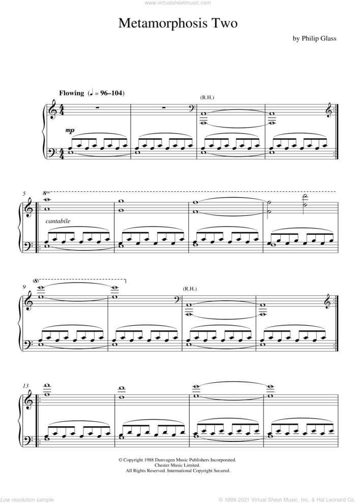 Metamorphosis Two sheet music for piano solo by Philip Glass, classical score, intermediate skill level