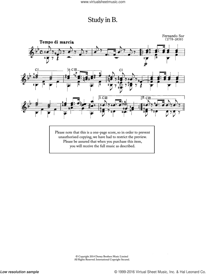 Study In B sheet music for guitar solo (chords) by Fernando Sor, classical score, easy guitar (chords)