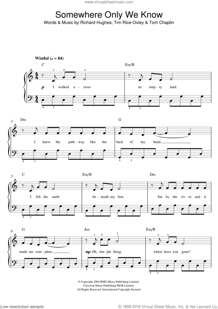Somewhere Only We Know sheet music for piano solo by Lily Allen, Richard Hughes, Tim Rice-Oxley and Tom Chaplin, easy skill level