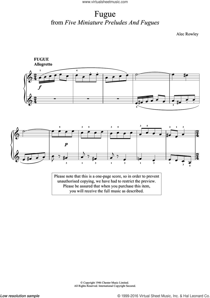 Five Miniature Preludes And Fugues sheet music for piano solo by Alec Rowley, classical score, intermediate skill level