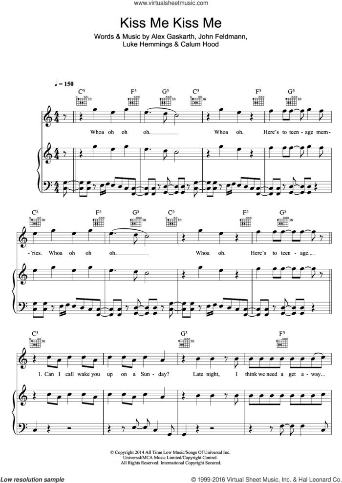 Kiss Me Kiss Me sheet music for voice, piano or guitar by 5 Seconds of Summer, Alex Gaskarth, Calum Hood, John Feldmann and Luke Hemmings, intermediate skill level