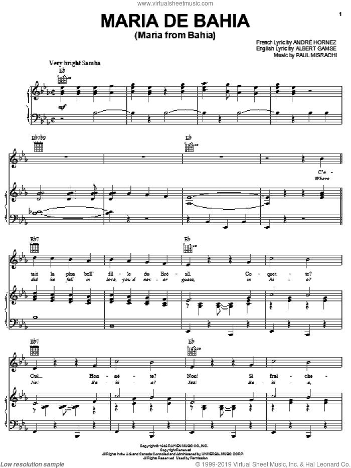Maria De Bahia (Maria From Bahia) sheet music for voice, piano or guitar by Paul Misrachi and Albert Gamse, intermediate skill level