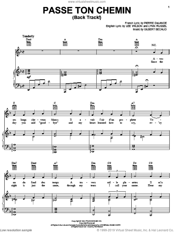 Passe Ton Chemin (Back Track!) sheet music for voice, piano or guitar by Pierre Delanoe, Gilbert Becaud, Lee Wilson and Lynn Russel, intermediate skill level