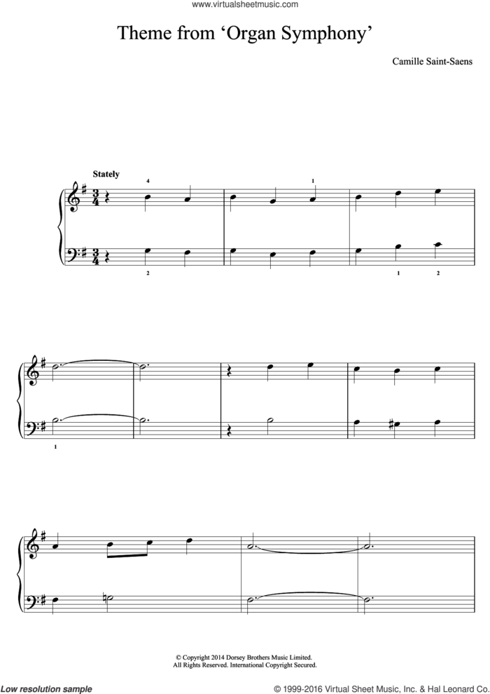 'Organ' Symphony (Theme) sheet music for piano solo by Camille Saint-Saens, classical score, easy skill level