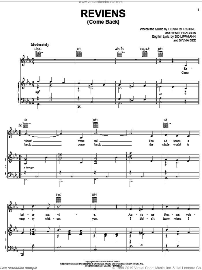 Reviens (Come Back) sheet music for voice, piano or guitar by Henri Christine, Henri Fragson, Sid Lippmann and Sylvia Dee, intermediate skill level