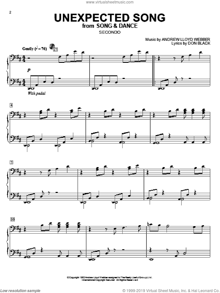 Unexpected Song (from Song and Dance) sheet music for piano four hands by Bernadette Peters, Song And Dance (Musical), Andrew Lloyd Webber and Don Black, intermediate skill level