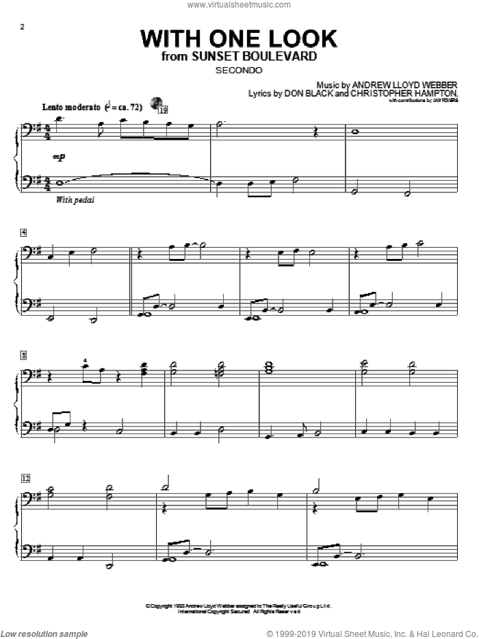 With One Look sheet music for piano four hands by Andrew Lloyd Webber, Christopher Hampton and Don Black, intermediate skill level