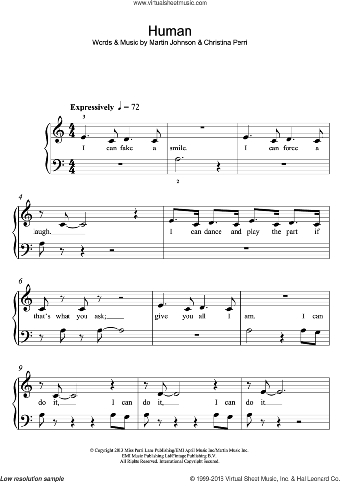 Human sheet music for piano solo by Christina Perri and Martin Johnson, easy skill level