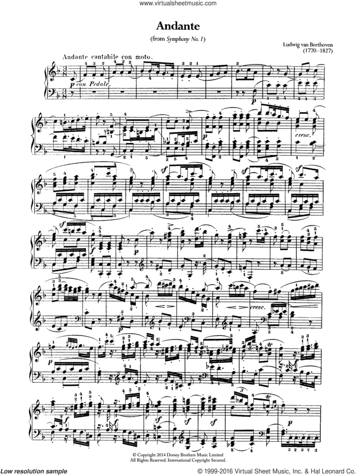 Symphony No.1, Andante sheet music for piano solo by Ludwig van Beethoven, classical score, intermediate skill level
