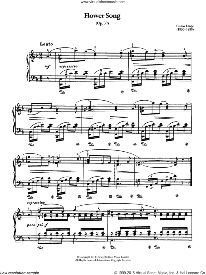 Flower Song Op.39 sheet music for piano solo by Gustav Lange, classical score, intermediate skill level