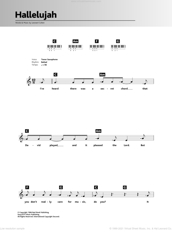 Hallelujah sheet music for piano solo (chords, lyrics, melody) by Leonard Cohen, Jeff Buckley, John Cale, k.d. lang and Rufus Wainwright, intermediate piano (chords, lyrics, melody)