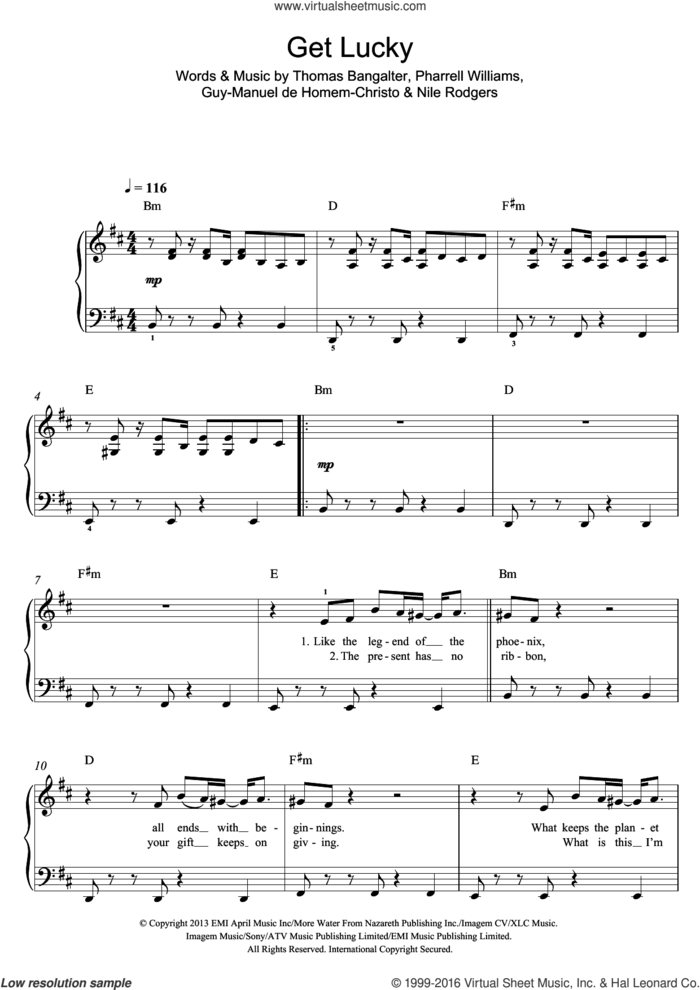 Get Lucky (featuring Pharrell Williams) sheet music for piano solo by Daft Punk, Guy-Manuel de Homem-Christo, Nile Rodgers, Pharrell Williams and Thomas Bangalter, easy skill level