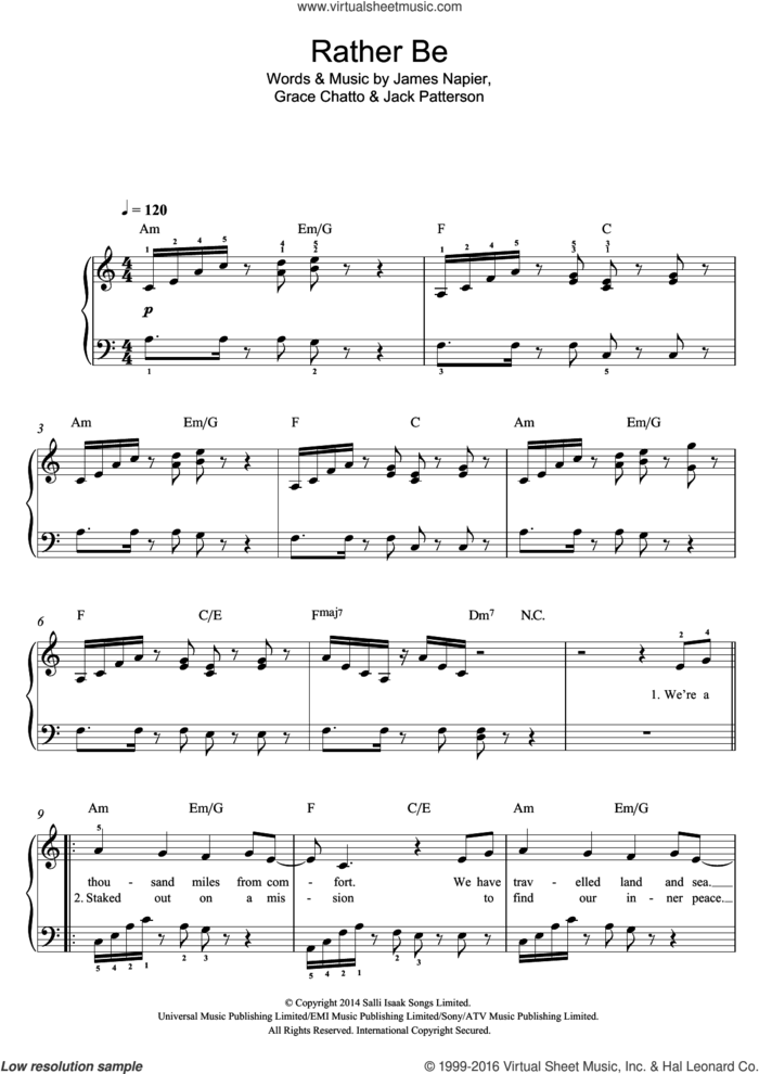 Rather Be sheet music for piano solo by Clean Bandit, Grace Chatto, Jack Patterson and James Napier, easy skill level