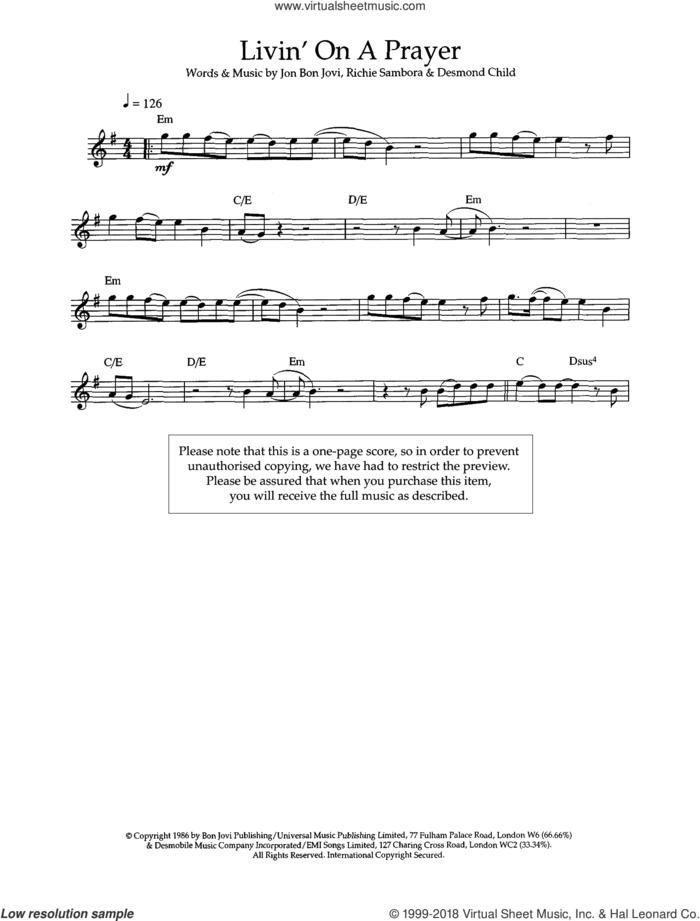 Livin' On A Prayer sheet music for flute solo by Bon Jovi, Desmond Child and Richie Sambora, intermediate skill level