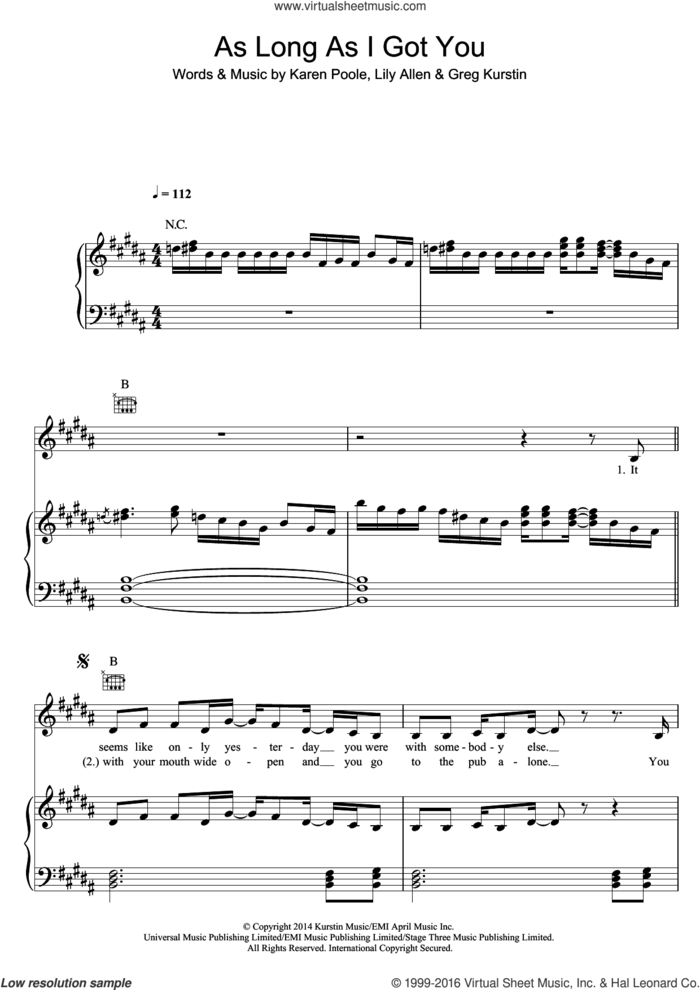 As Long As I Got You sheet music for voice, piano or guitar by Lily Allen, Greg Kurstin and Karen Poole, intermediate skill level