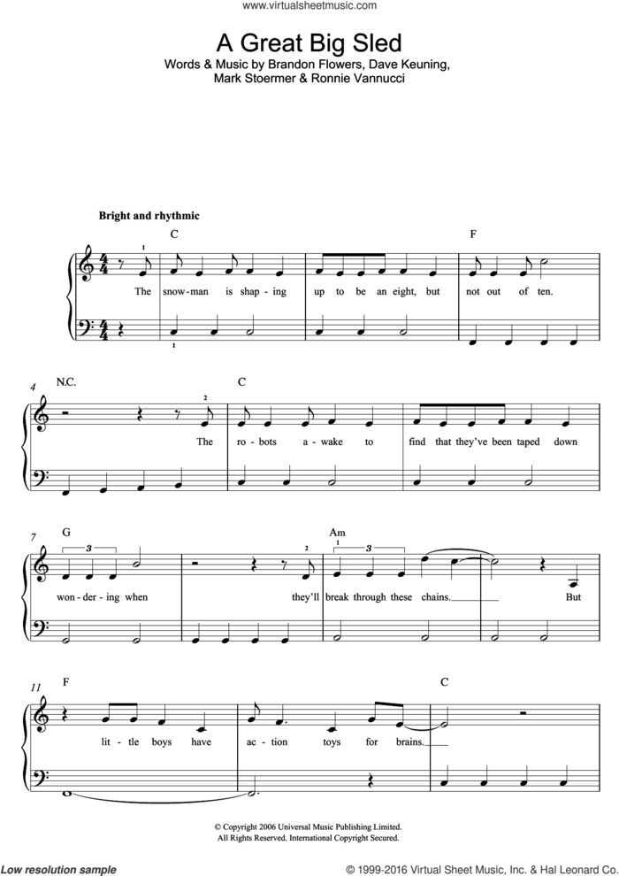 A Great Big Sled sheet music for piano solo by The Killers, Brandon Flowers, Dave Keuning, Mark Stoermer and Ronnie Vannucci, easy skill level