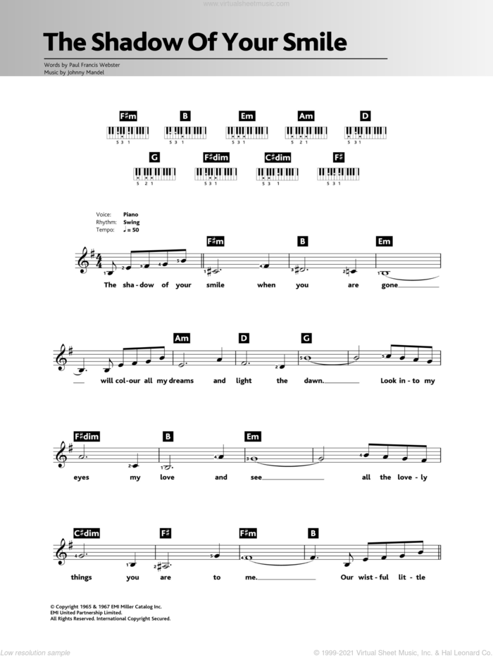 The Shadow Of Your Smile sheet music for piano solo (chords, lyrics, melody) by Tony Bennett, Johnny Mandel and Paul Francis Webster, intermediate piano (chords, lyrics, melody)