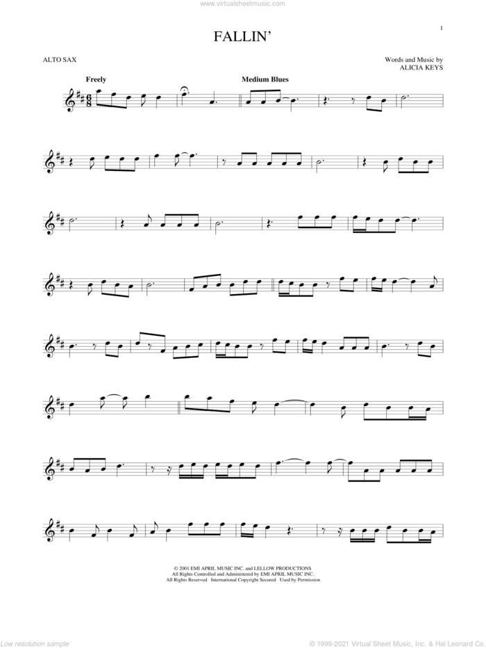 Fallin' sheet music for alto saxophone solo by Alicia Keys, intermediate skill level