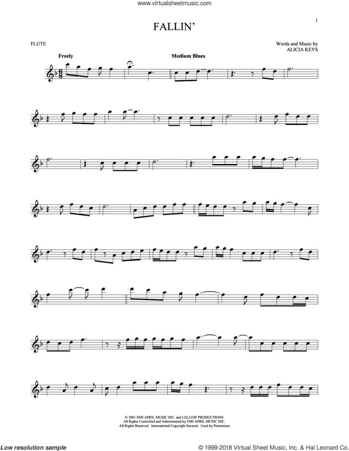 Fallin' sheet music for flute solo by Alicia Keys, intermediate skill level