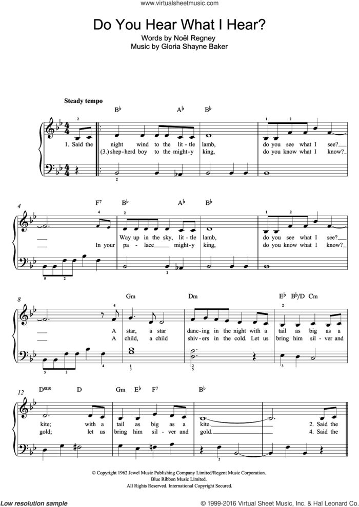 Do You Hear What I Hear? sheet music for piano solo by Mary J. Blige, Susan Boyle, Gloria Shayne Baker, NoA�A�l Regney and Noel Regney, easy skill level