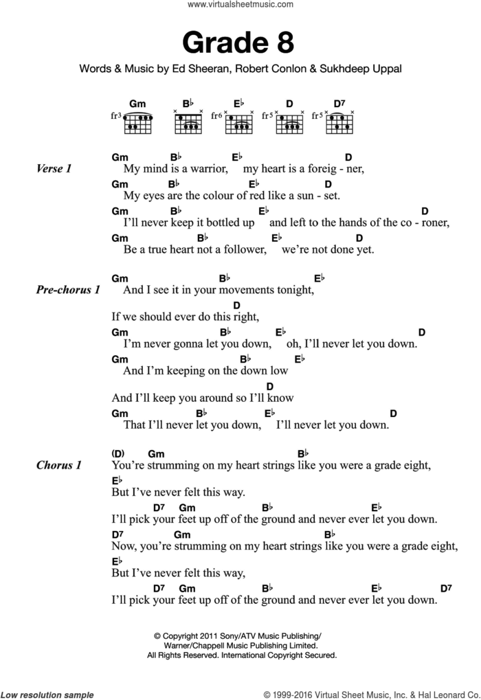 Grade 8 sheet music for guitar (chords) by Ed Sheeran, Robert Conlon and Sukhdeep Uppal, intermediate skill level