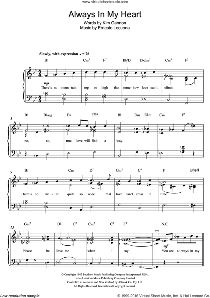 Always In My Heart sheet music for voice and piano by Ernesto Lecuona and Kim Gannon, intermediate skill level