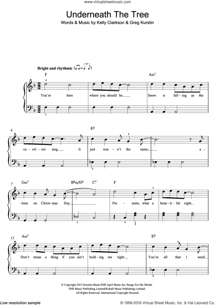 Underneath The Tree, (easy) sheet music for piano solo by Kelly Clarkson and Greg Kurstin, easy skill level