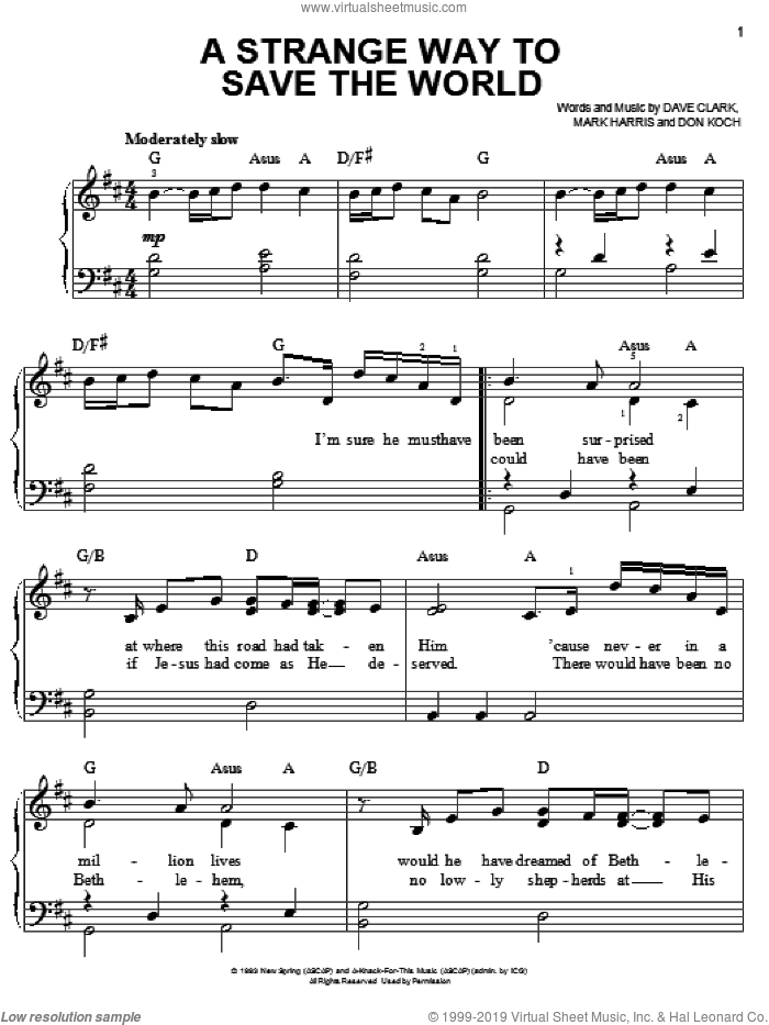 A Strange Way To Save The World sheet music for piano solo by 4Him, Dave Clark, Don Koch and Mark Harris, easy skill level