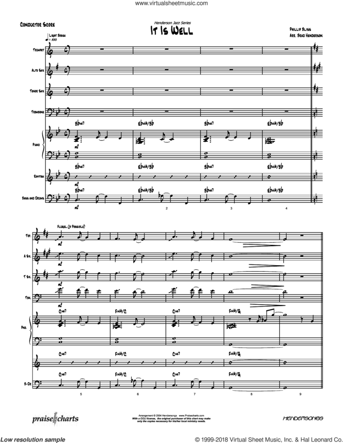 It Is Well with My Soul sheet music for concert band (orchestration) by Brad Henderson and PHILLIP BLISS, intermediate skill level