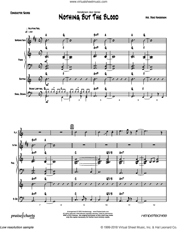 Nothing But the Blood sheet music for concert band (orchestration) by Brad Henderson and Robert Lowry, intermediate skill level