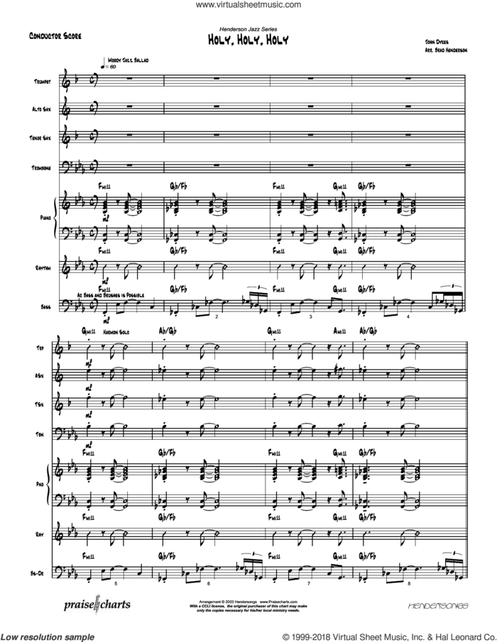 Holy Holy Holy sheet music for concert band (orchestration) by Brad Henderson and Reginald Heber, intermediate skill level