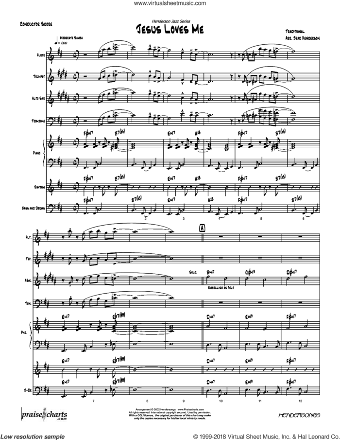 Jesus Loves Me sheet music for concert band (orchestration) by Brad Henderson and Miscellaneous, intermediate skill level