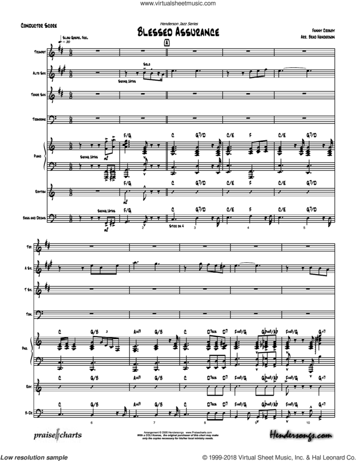 Blessed Assurance sheet music for concert band (orchestration) by Brad Henderson, intermediate skill level